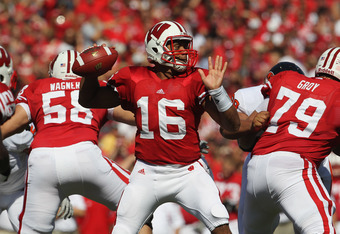 MADISON, WI - SEPTEMBER 10:  Russell Wilson #16 of the Wisconsin Badgers throws a pass against the Oregon State Beavers at Camp Randall Stadium on September 10, 2011 in Madison Wisconsin. Wisconsin defeated Oregon State 35-0.  (Photo by Jonathan Daniel/Ge