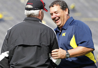 ANN ARBOR, MI - SEPTEMBER 24:  Michigan Wolverines head coach Brady Hoke talks with San Diego State's head fotball coach Rocky Long prior to the start of the game at Michigan Stadium on September 24, 2011 in Ann Arbor, Michigan.  (Photo by Leon Halip/Gett