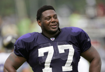 WESTMINSTER, MD - AUGUST 8: Tackle Orlando Brown #77 practices during Baltimore Ravens training camp on August 8, 2005 at McDaniel College in Westminster, Maryland.  (Photo By Jamie Squire/Getty Images)