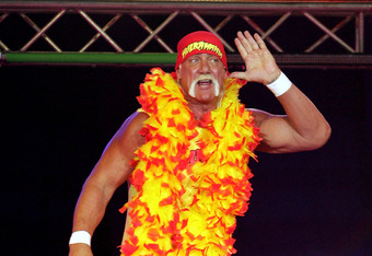 PERTH, AUSTRALIA - NOVEMBER 24:  Hulk Hogan enters the stage prior to his bout against Ric Flair during the Hulkamania Tour at the Burswood Dome on November 24, 2009 in Perth, Australia.  (Photo by Paul Kane/Getty Images)