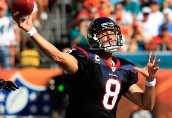 MIAMI GARDENS, FL - SEPTEMBER 18:  Houston Texans quarterback Matt Schaub #8 attempts a pass during a game against the Miami Dolphins at Sun Life Stadium on September 18, 2011 in Miami Gardens, Florida.  (Photo by Sam Greenwood/Getty Images)