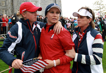 USA's Stacy Lewis, Ryann O'Toole and team captain Rosie Jones.
