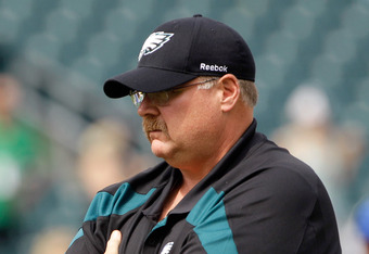 PHILADELPHIA, PA - SEPTEMBER 25:  Head coach Andy Reid of the Philadelphia Eagles looks on before the game against the New York Giants at Lincoln Financial Field on September 25, 2011 in Philadelphia, Pennsylvania.  (Photo by Rob Carr/Getty Images)