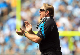 CHARLOTTE, NC - SEPTEMBER 25:  Head coach Jack Del Rio against the Carolina Panthers during their game at Bank of America Stadium on September 25, 2011 in Charlotte, North Carolina.  (Photo by Streeter Lecka/Getty Images)