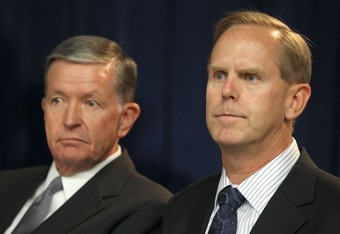 BYU President Cecil O. Samuelson and Athletic Director Tom Holmoe