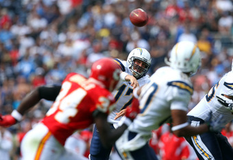 SAN DIEGO, CA - SEPTEMBER 25:   Quarterback Philip Rivers #17 of the San Diego Chargers throws the ball against the Kansas City Chiefs during their NFL Game on September 25, 2011 at Qualcomm Stadium in San DIego, California. (Photo by Donald Miralle/Getty