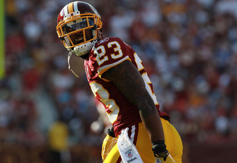 LANDOVER, MD - SEPTEMBER 11:   DeAngelo Hall #23 of the Washington Redskins at FedExField on September 11, 2011 in Landover, Maryland.  (Photo by Ronald Martinez/Getty Images)