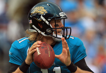 CHARLOTTE, NC - SEPTEMBER 25:  Blaine Gabbert #11 of the Jacksonville Jaguars drops back to pass against the Carolina Panthers during their game at Bank of America Stadium on September 25, 2011 in Charlotte, North Carolina.  (Photo by Streeter Lecka/Getty