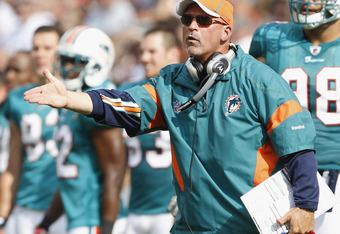 CLEVELAND, OH - SEPTEMBER 25:  Head coach Tony Sparano of the Miami Dolphins argues a call against the Cleveland Browns at Cleveland Browns Stadium on September 25, 2011 in Cleveland, Ohio.  (Photo by Matt Sullivan/Getty Images)