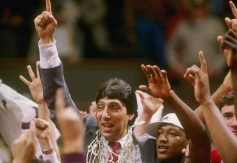 Jimmy V and NC State celebrate their incredible victory in the 1983 NCAA Men's Basketball Tournament.