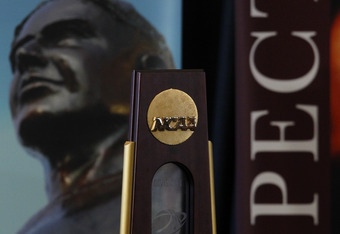 COLLEGE STATION, TX - SEPTEMBER 26:  An NCAA championship trophy belonging to the Texas A&M Aggies is seen during a press conference for Texas A&M accepting an invitation to join the Southeastern Conference on September 26, 2011 in College Station, Texas.