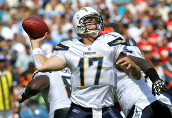 SAN DIEGO - SEPTEMBER 25:  Quarterback Philip Rivers #17 of the San Diego Chargers throws a pass against the Kansas City Chiefs at Qualcomm Stadium on September 25, 2011 in San Diego, California.    (Photo by Stephen Dunn/Getty Images)