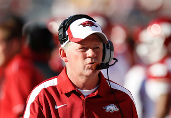 TUSCALOOSA, AL - SEPTEMBER 24:  Head coach Bobby Petrino of the Arkansas Razorbacks looks on during the game against the Alabama Crimson Tide at Bryant-Denny Stadium on September 24, 2011 in Tuscaloosa, Alabama.  (Photo by Kevin C. Cox/Getty Images)