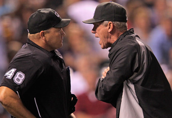 "Face-to-Face ejections are more positively perceived than ejections ""from the crouch."" Here, umpire Mark Carlson ejects Rockies skipper Jim Tracy on September 9, 2011."