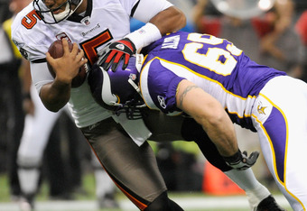 MINNEAPOLIS, MN - SEPTEMBER 18: Jared Allen #69 of the Minnesota Vikings sacks Josh Freeman #5 of the Tampa Bay Buccaneers on September 18, 2011 at the Hubert H. Humphrey Metrodome in Minneapolis, Minnesota. (Photo by Hannah Foslien/Getty Images)