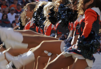 DENVER, CO - SEPTEMBER 18:  The Denver Broncos cheerleaders perform during a break in the action against the Cincinnati Bengals at Sports Authority Field at Mile High on September 18, 2011 in Denver, Colorado. The Broncos defeated the Bengals 24-22.  (Pho