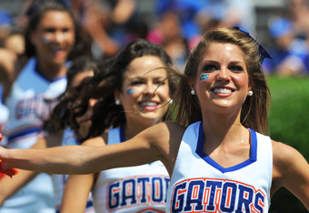 GAINESVILLE, FL - APRIL 9:  Florida Gators cheerleaders perform during the Orange and Blue spring football game April 9, 2011 at Ben Hill Griffin Stadium in Gainesville, Florida.  (Photo by Al Messerschmidt/Getty Images)