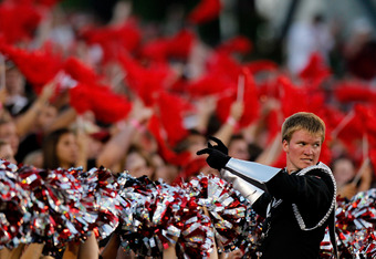 ATHENS, GA - SEPTEMBER 10:  The drum major of the Georgia Bulldogs marching band performs during the game against the South Carolina Gamecocks at Sanford Stadium on September 10, 2011 in Athens, Georgia.  (Photo by Kevin C. Cox/Getty Images)