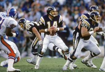 SAN DIEGO - NOVEMBER 29:  Quarterback Dan Fouts #14 of the San Diego Chargers looks to pass during a game against the Denver Broncos at Jack Murphy Stadium on November 29, 1987 in San Diego, California.  Fouts completed 23 out of 48 passes for 322 yards a