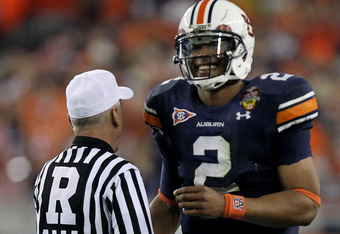 GLENDALE, AZ - JANUARY 10:  Cameron Newton #2 of the Auburn Tigers reacts during their game against the Oregon Ducks during the Tostitos BCS National Championship Game at University of Phoenix Stadium on January 10, 2011 in Glendale, Arizona.  (Photo by R