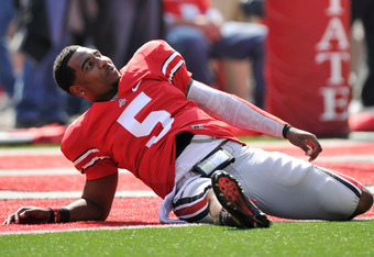 COLUMBUS, OH - SEPTEMBER 24:  Braxton Miller #5 of the Ohio State Buckeyes stretches on the field before a game against the Colorado Buffaloes at Ohio Stadium on September 24, 2011 in Columbus, Ohio.  (Photo by Jamie Sabau/Getty Images)