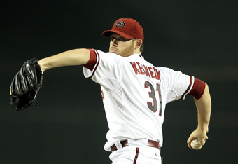 PHOENIX, AZ - SEPTEMBER 19:  Starting pitcher Ian Kennedy #31 of the Arizona Diamondbacks pitches against the Pittsburgh Pirates during the Major League Baseball game at Chase Field on September 19, 2011 in Phoenix, Arizona.  (Photo by Christian Petersen/