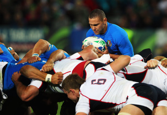 NELSON, NEW ZEALAND - SEPTEMBER 27:  Fabio Semenzato of Italy prepares to enter the ball into the scrum during the IRB 2011 Rugby World Cup Pool C match between Italy and the USA at Trafalgar Park on September 27, 2011 in Nelson, New Zealand.  (Photo by M