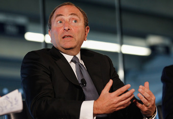 NEW YORK, NY - SEPTEMBER 27:  NHL Commissioner Gary Bettman speaks to attendees during 'Sports Teams for Social Change,' hosted by Beyond Sport United on September 27, 2011 at Yankee Stadium in the Bronx borough of New York City.  (Photo by Mike Stobe/Get