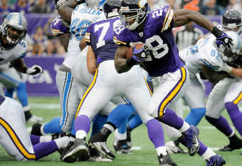 MINNEAPOLIS, MN - SEPTEMBER 25: Adrian Peterson #28 of the Minnesota Vikings carries the ball during the second quarter against the Detroit Lions on September 25, 2011 at Hubert H. Humphrey Metrodome in Minneapolis, Minnesota. Peterson scored a touchdown