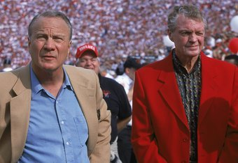28 Oct 2000:  (L-R) Former Head Coach Barry Switzer of the Oklahoma Sooners stands with the Former Head Coach Tom Osborne of the Nebraska Cornhuskers during the game at the Oklahoma Memorial Stadium in Norman, Oklahoma. The Sooners defeated the Cornhusker