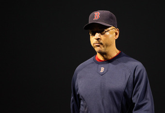 BALTIMORE, MD - SEPTEMBER 27: Manager Terry Francona #47 of the Boston Red Sox walks back to the dugout during the eighth inning against the Baltimore Orioles at Oriole Park at Camden Yards on September 27, 2011 in Baltimore, Maryland. The Red Sox defeate