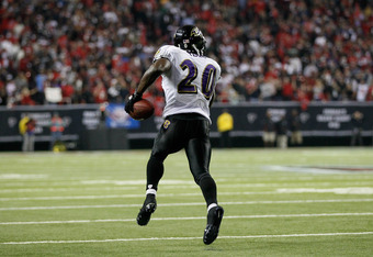 ATLANTA - NOVEMBER 11:  Ed Reed #20 of the Baltimore Ravens against the Atlanta Falcons at Georgia Dome on November 11, 2010 in Atlanta, Georgia.  (Photo by Kevin C. Cox/Getty Images)