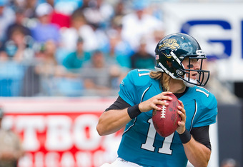 CHARLOTTE, NC - SEPTEMBER 25: Quarterback Blaine Gabbert #11 of the Jacksonville Jaguars drops back to pass against the Carolina Panthers at Bank of America Stadium on September 25, 2011 in Charlotte, North Carolina.  The Panthers defeated the Jaguars 16-