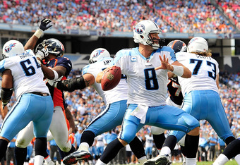 NASHVILLE, TN - SEPTEMBER 25:  Matt Hasselbeck #8 of the Tennessee Titans drops back to pass against the Denver Broncos  at LP Field on September 25, 2011 in Nashville, Tennessee. Tennessee won 17-14.  (Photo by Grant Halverson/Getty Images)