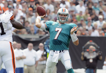 CLEVELAND, OH - SEPTEMBER 25: Starting quarterback Chad Henne #7 of the Miami Dolphins passes down field during the first quarter against the Cleveland Browns at Cleveland Browns Stadium on September 25, 2011 in Cleveland, Ohio. (Photo by Jason Miller/Get