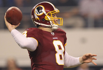 ARLINGTON, TX - SEPTEMBER 26:  Rex Grossman #8 of the Washington Redskins at Cowboys Stadium on September 26, 2011 in Arlington, Texas.  (Photo by Ronald Martinez/Getty Images)