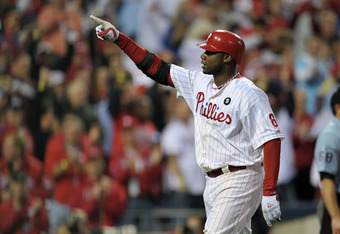 PHILADELPHIA, PA - OCTOBER 01:  Ryan Howard #6 of the Philadelphia Phillies reacts to hitting a three-run home run in the sixth inning of Game One of the National League Division Series against the St. Louis Cardinals at Citizens Bank Park on October 1, 2