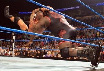 Randy Orton RKOs Mark Henry on SmackDown.