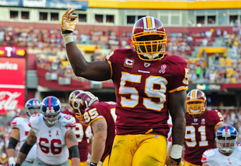 LANDOVER, MD - SEPTEMBER 11: London Fletcher #59 of the Washington Redskins celebrates after a sack against the New York Giants season-opening game at FedEx Field on September 11, 2011 in Landover, Maryland. (Photo by Scott Cunningham/Getty Images)