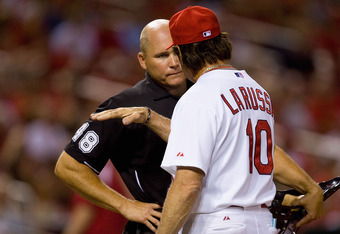La Russa has a history of arguing balls and strikes with umpires. Here, La Russa is ejected by umpire Mark Carlson during a June 28, 2010 contest against the D'Backs.