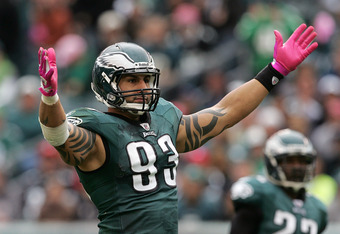PHILADELPHIA, PA - OCTOBER 2: Defensive end Jason Babin #93 of the Philadelphia Eagles raises his arms to get the crowd going against the San Francisco 49ers during an NFL football game at Lincoln Financial Field on October 2, 2011 in Philadelphia, Pennsy
