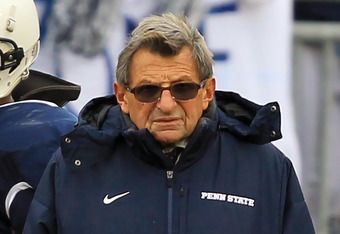 STATE COLLEGE, PA - NOVEMBER 27: Head coach Joe Paterno of the Penn State Nittany Lions stands on the sideline during a game against the Michigan State Spartans on November 27, 2010 at Beaver Stadium in State College, Pennsylvania. The Spartans won 28-22.