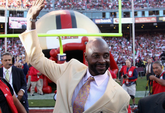 SAN FRANCISCO - SEPTEMBER 20:  Jerry Rice of the San Francisco 49ers waves to the crowd during a pregame ceremony before their game against the New Orleans Saints at Candlestick Park on September 20, 2010 in San Francisco, California.  (Photo by Ezra Shaw