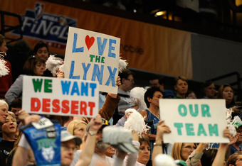 MINNEAPOLIS, MN - OCTOBER 2: Fans hold up signs during Game One of the 2011 WNBA Finals between the Atlanta Dream and the Minnesota Lynx on October 2, 2011 at Target Center in Minneapolis, Minnesota. The Lynx defeated the Dream 88-74. NOTE TO USER: User e