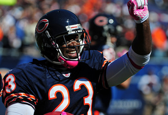 CHICAGO, IL - OCTOBER 2: Devin Hester #23 of the Chicago Bears celebrates after he scoring a touchdown on a 69 yard punt return against the Carolina Panthers at Soldier Field on October 2, 2011 in Chicago, Illinois. Hester broke the NFL record with his 11