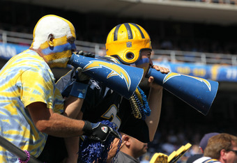 SAN DIEGO, CA - OCTOBER 2:   San Diego Chargers fans cheer in the game with the Miami Dolphins at Qualcomm Stadium on September 25, 2011 in San Diego, California.    The Chargers won 26-16.  (Photo by Stephen Dunn/Getty Images)