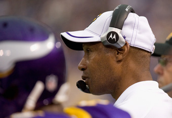 MINNEAPOLIS, MN - SEPTEMBER 18: Head coach Leslie Frazier of the Minnesota Vikings looks on in the fourth quarter of the game against the Tampa Bay Buccaneers on September 18, 2011 at Hubert H. Humphrey Metrodome in Minneapolis, Minnesota. The Buccaneers