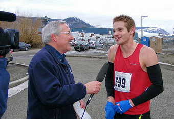 Symonds began his racing career as a runner. Pictured here after a 10K in Vernon, British Columbia.