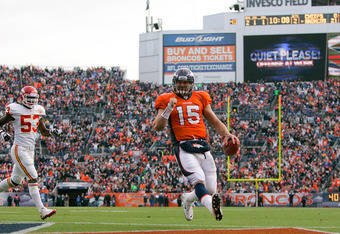 Tim Tebow has scored mostly short yardage touchdowns for a team that has struggled in the red zone.