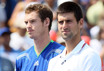 MASON, OH - AUGUST 21:   Novak Djokovic of Serbia and Andy Murray of Great Britain stand by for trophy presentation during the Western & Southern Open at the Lindner Family Tennis Center on August 21, 2011 in Mason, Ohio. Murray won the match after Djokov